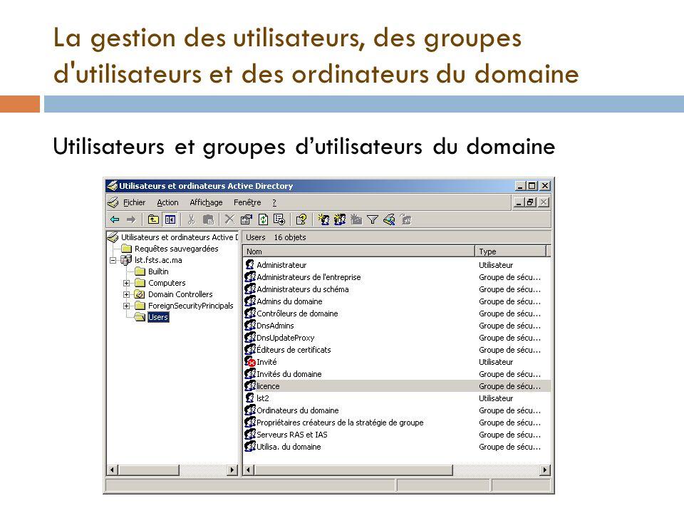 La gestion des utilisateurs, des groupes d'utilisateurs et des ordinateurs du domaine Utilisateurs et groupes dutilisateurs du domaine