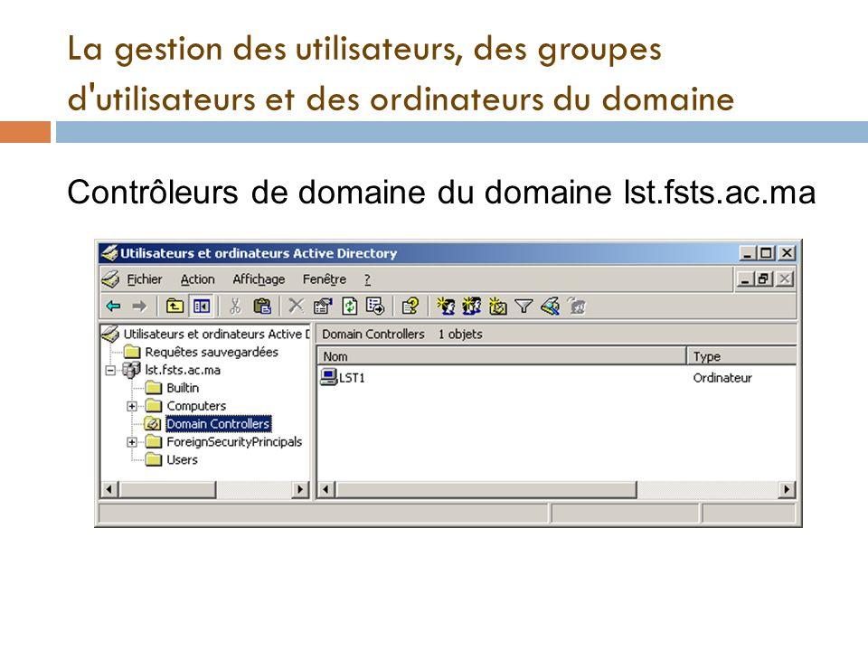La gestion des utilisateurs, des groupes d'utilisateurs et des ordinateurs du domaine Contrôleurs de domaine du domaine lst.fsts.ac.ma
