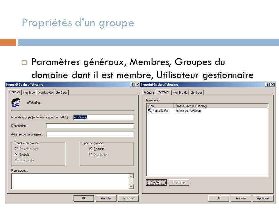Propriétés dun groupe Paramètres généraux, Membres, Groupes du domaine dont il est membre, Utilisateur gestionnaire