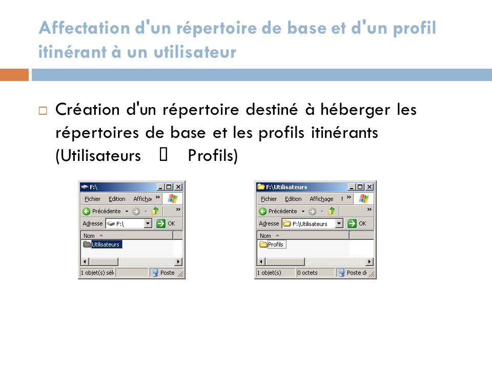 Affectation d'un répertoire de base et d'un profil itinérant à un utilisateur Création d'un répertoire destiné à héberger les répertoires de base et l