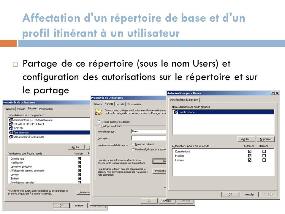 Affectation d'un répertoire de base et d'un profil itinérant à un utilisateur Partage de ce répertoire (sous le nom Users) et configuration des autori