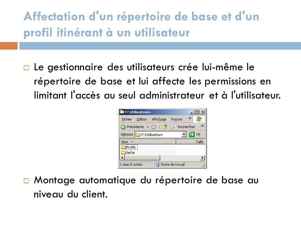 Affectation d'un répertoire de base et d'un profil itinérant à un utilisateur Le gestionnaire des utilisateurs crée lui-même le répertoire de base et