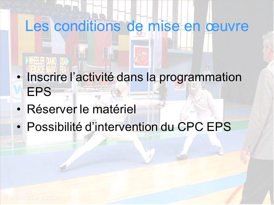 Cathy Béraud CPC EPS Circonscription Dax Sud Adour Les conditions de mise en œuvre Inscrire lactivité dans la programmation EPS Réserver le matériel P