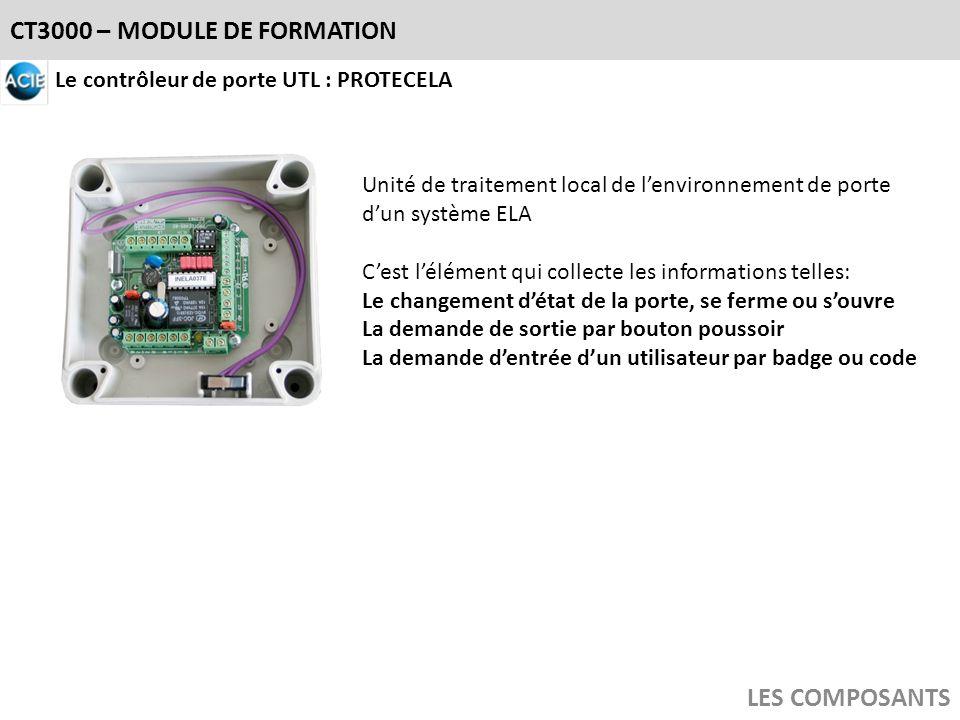 CT3000 – MODULE DE FORMATION LES COMPOSANTS Le contrôleur de porte UTL : PROTECELA Unité de traitement local de lenvironnement de porte dun système EL
