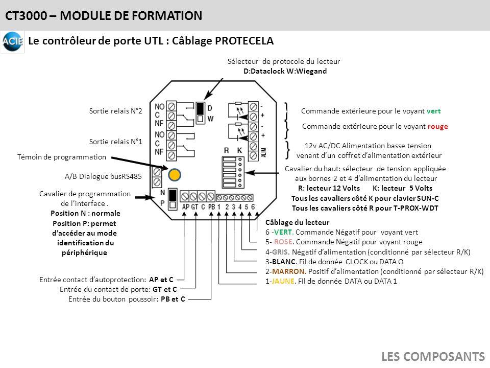 CT3000 – MODULE DE FORMATION LES COMPOSANTS Le contrôleur de porte UTL : Câblage PROTECELA A/B Dialogue busRS485 12v AC/DC Alimentation basse tension