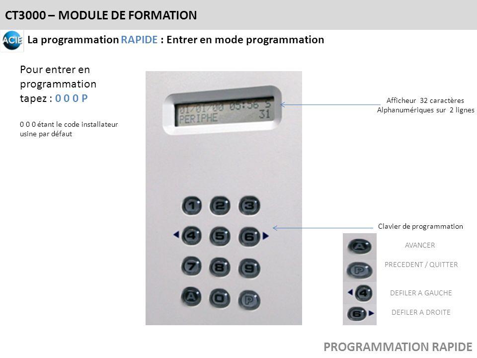 CT3000 – MODULE DE FORMATION PROGRAMMATION RAPIDE Afficheur 32 caractères Alphanumériques sur 2 lignes Clavier de programmation AVANCER PRECEDENT / QU