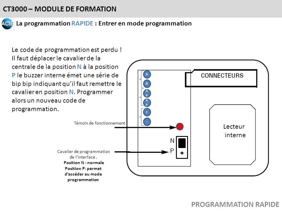 LL Lecteur interne B APAP APAP A + - Cavalier de programmation de linterface. Position N : normale Position P: permet daccéder au mode programmation T