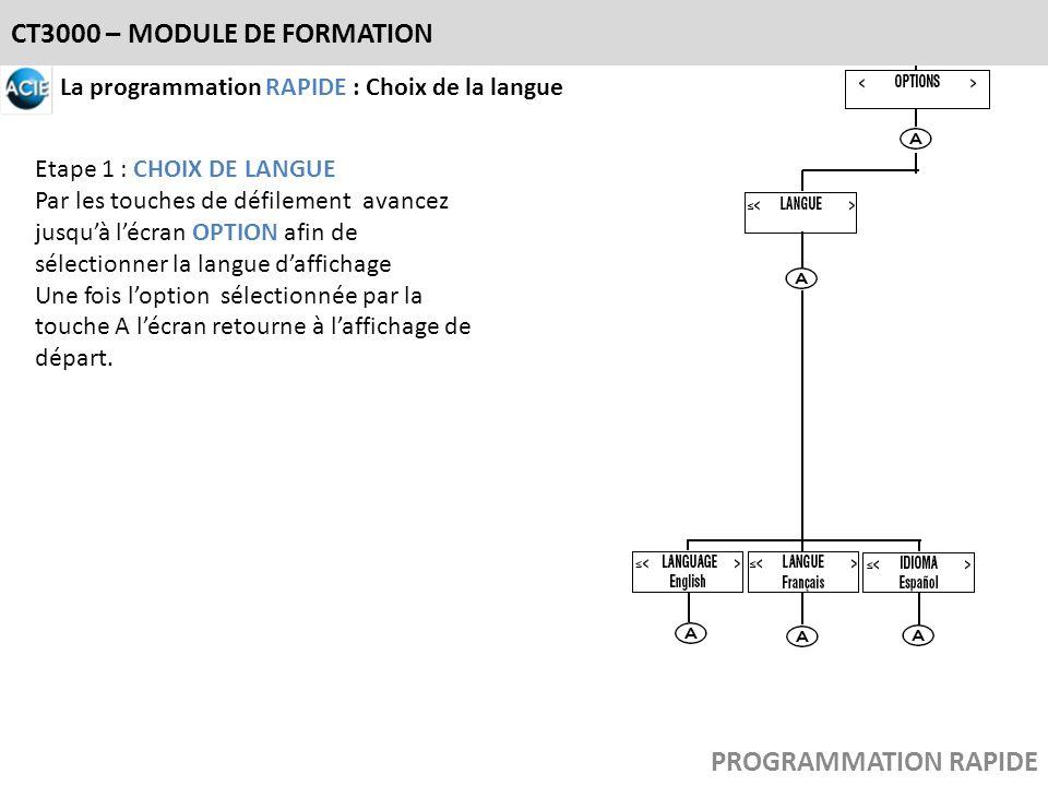CT3000 – MODULE DE FORMATION La programmation RAPIDE : Choix de la langue Etape 1 : CHOIX DE LANGUE Par les touches de défilement avancez jusquà lécra
