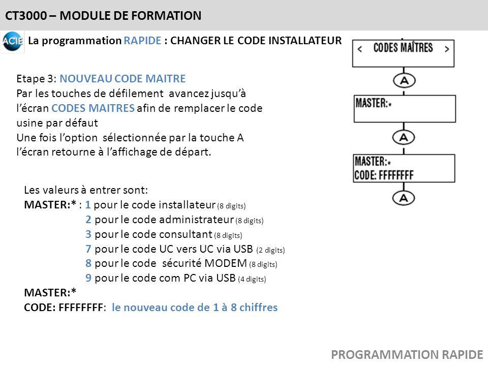 CT3000 – MODULE DE FORMATION La programmation RAPIDE : CHANGER LE CODE INSTALLATEUR Etape 3: NOUVEAU CODE MAITRE Par les touches de défilement avancez
