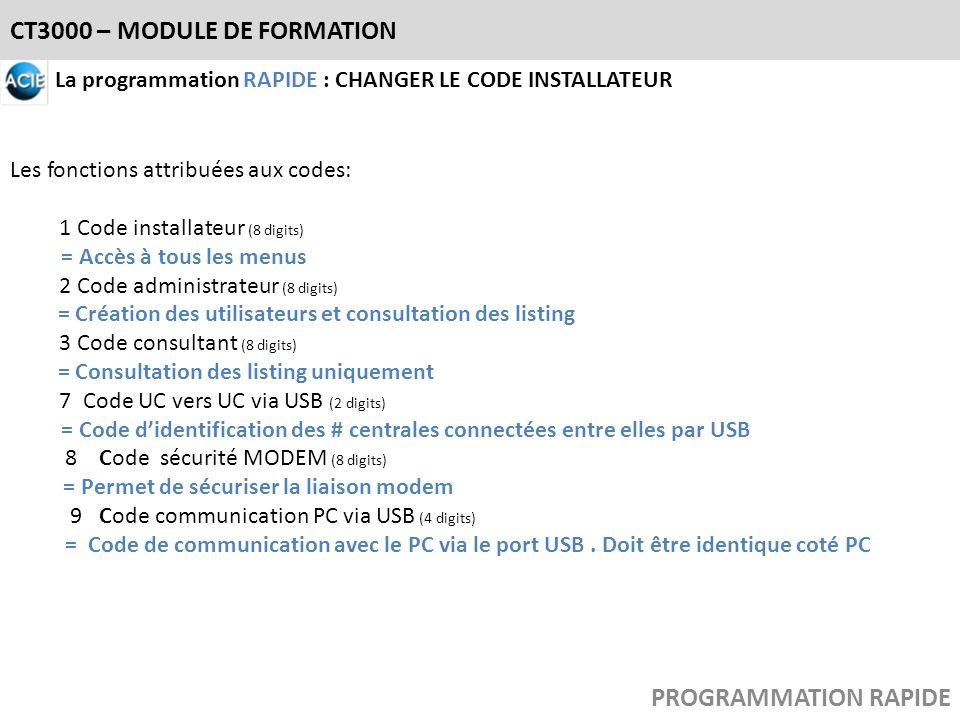 CT3000 – MODULE DE FORMATION La programmation RAPIDE : CHANGER LE CODE INSTALLATEUR Les fonctions attribuées aux codes: 1 Code installateur (8 digits)