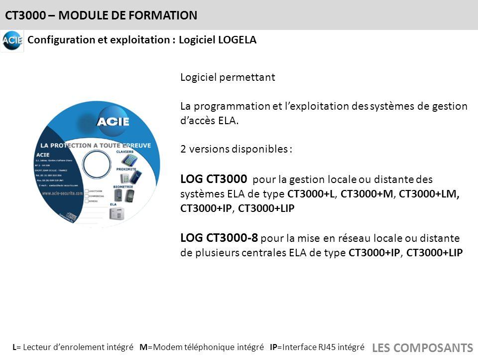CT3000 – MODULE DE FORMATION LES COMPOSANTS Configuration et exploitation : Logiciel LOGELA Logiciel permettant La programmation et lexploitation des