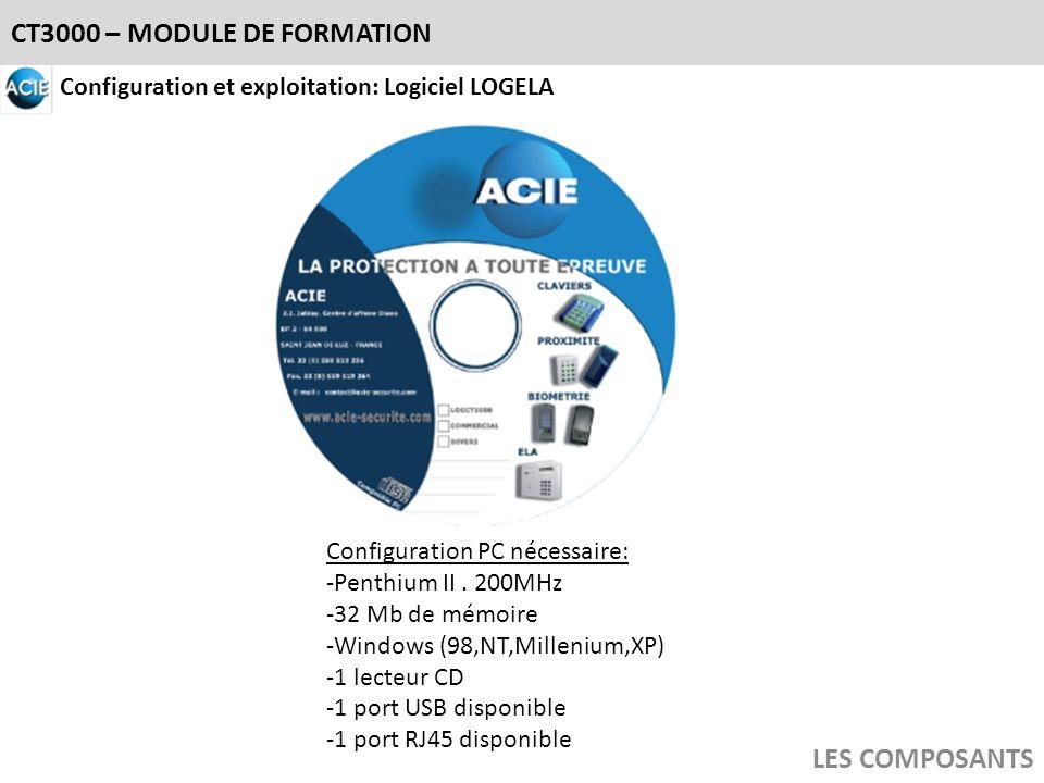 CT3000 – MODULE DE FORMATION LES COMPOSANTS Configuration et exploitation: Logiciel LOGELA Configuration PC nécessaire: -Penthium II. 200MHz -32 Mb de