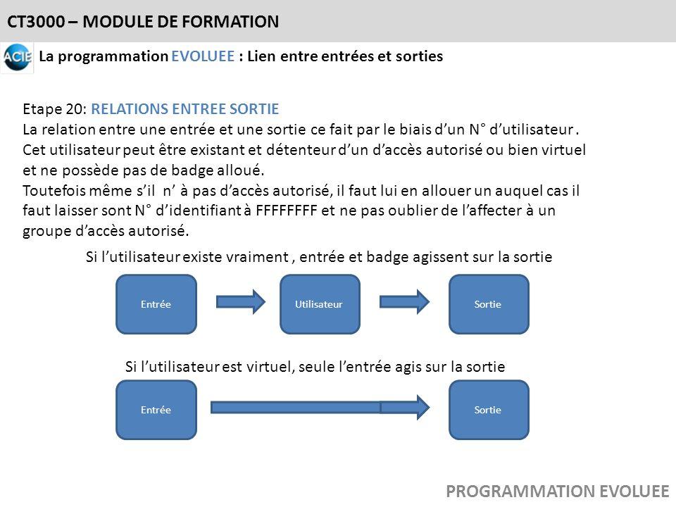 CT3000 – MODULE DE FORMATION PROGRAMMATION EVOLUEE La programmation EVOLUEE : Lien entre entrées et sorties Etape 20: RELATIONS ENTREE SORTIE La relat