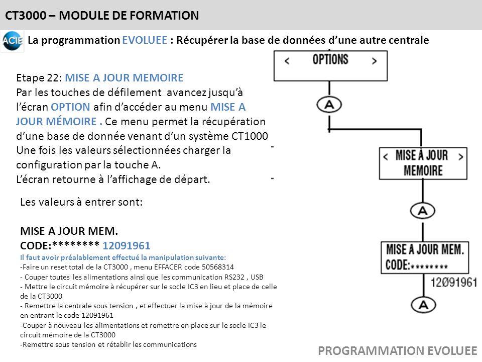 CT3000 – MODULE DE FORMATION PROGRAMMATION EVOLUEE La programmation EVOLUEE : Récupérer la base de données dune autre centrale Etape 22: MISE A JOUR M