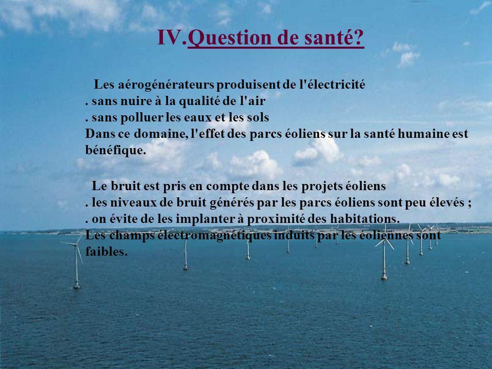 III.Léolienne au sein de lenvironnement 1)Les avantages Ne pollue pas Le bruit (par rapport à une centrale électrique) Ne nuit pas à la santé Tourisme