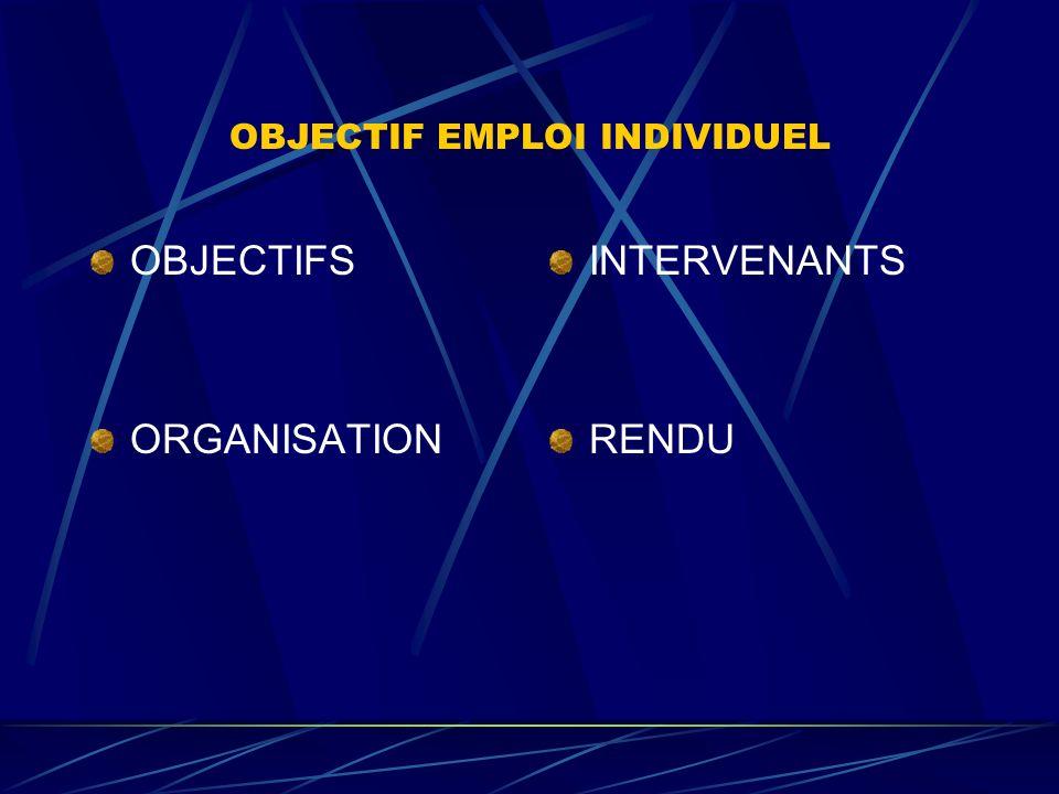OBJECTIF EMPLOI EN GROUPE OBJECTIFS ORGANISATION INTERVENANTS RENDU