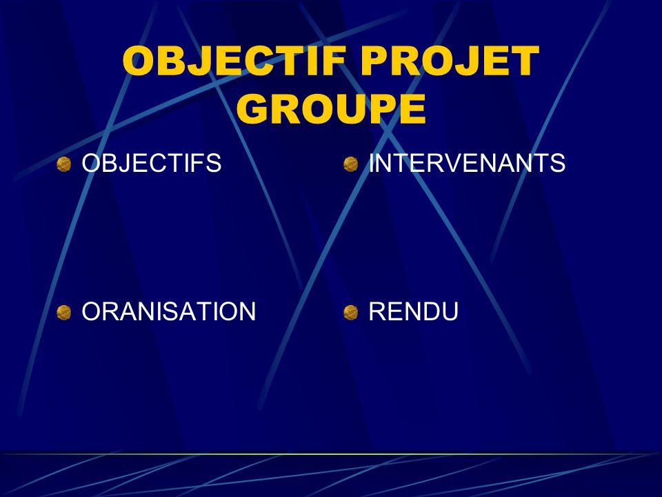 OBJECTIF EMPLOI GROUPE OBJECTIFS ORGANISATION INTERVENANTS RENDU