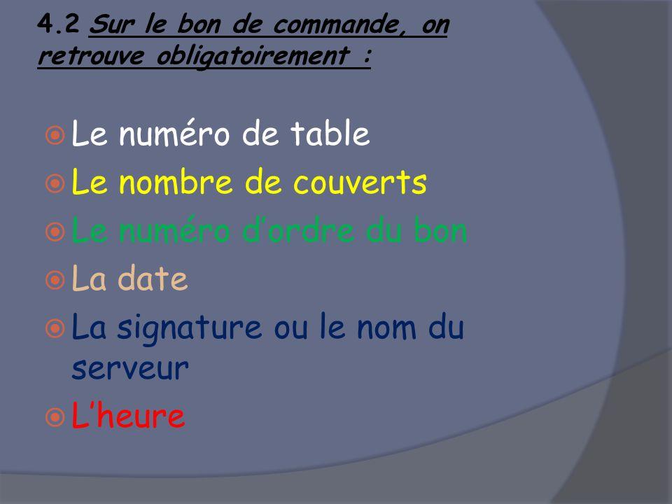 4.2 Sur le bon de commande, on retrouve obligatoirement : Le numéro de table Le nombre de couverts Le numéro dordre du bon La date La signature ou le