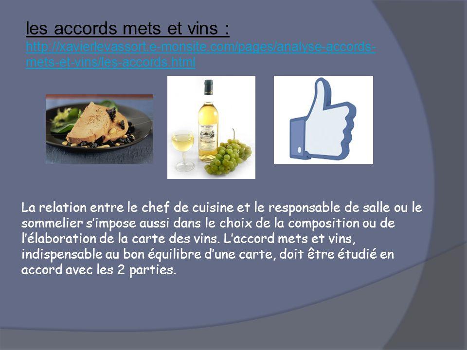 les accords mets et vins : http://xavierlevassort.e-monsite.com/pages/analyse-accords- mets-et-vins/les-accords.html http://xavierlevassort.e-monsite.