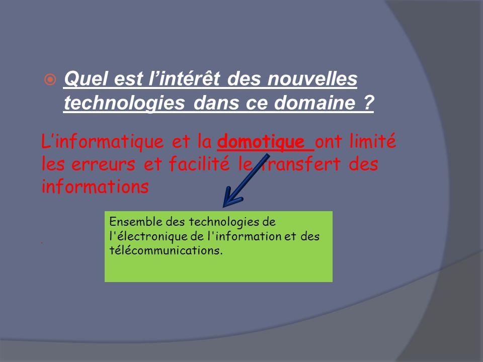 Quel est lintérêt des nouvelles technologies dans ce domaine ? Linformatique et la domotique ont limité les erreurs et facilité le transfert des infor