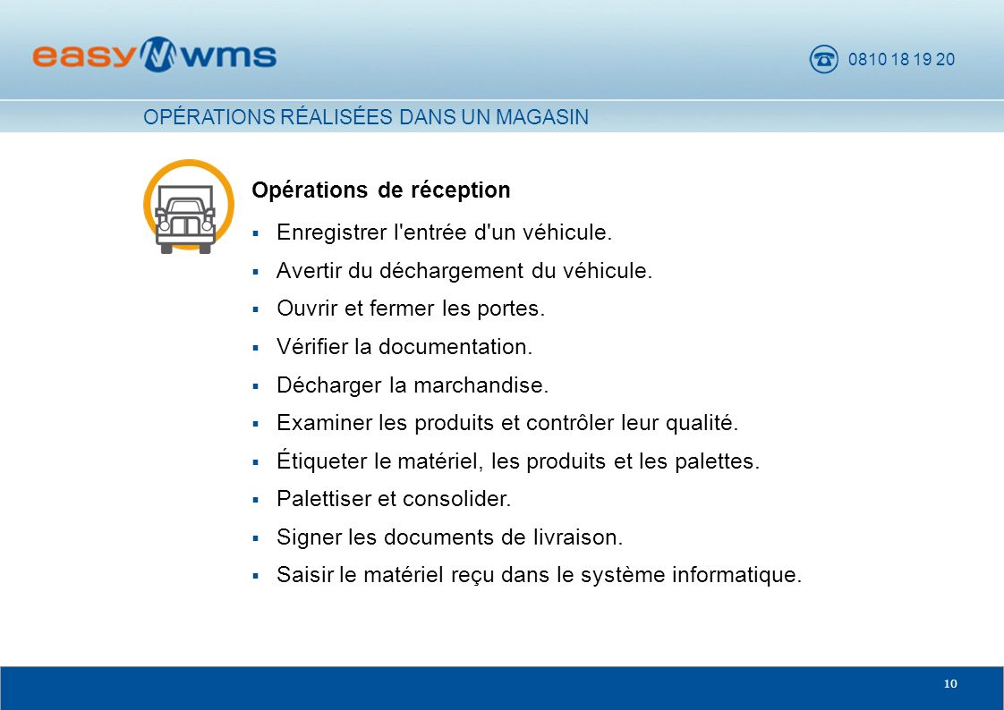 0810 18 19 20 10 Opérations de réception Enregistrer l'entrée d'un véhicule. Avertir du déchargement du véhicule. Ouvrir et fermer les portes. Vérifie