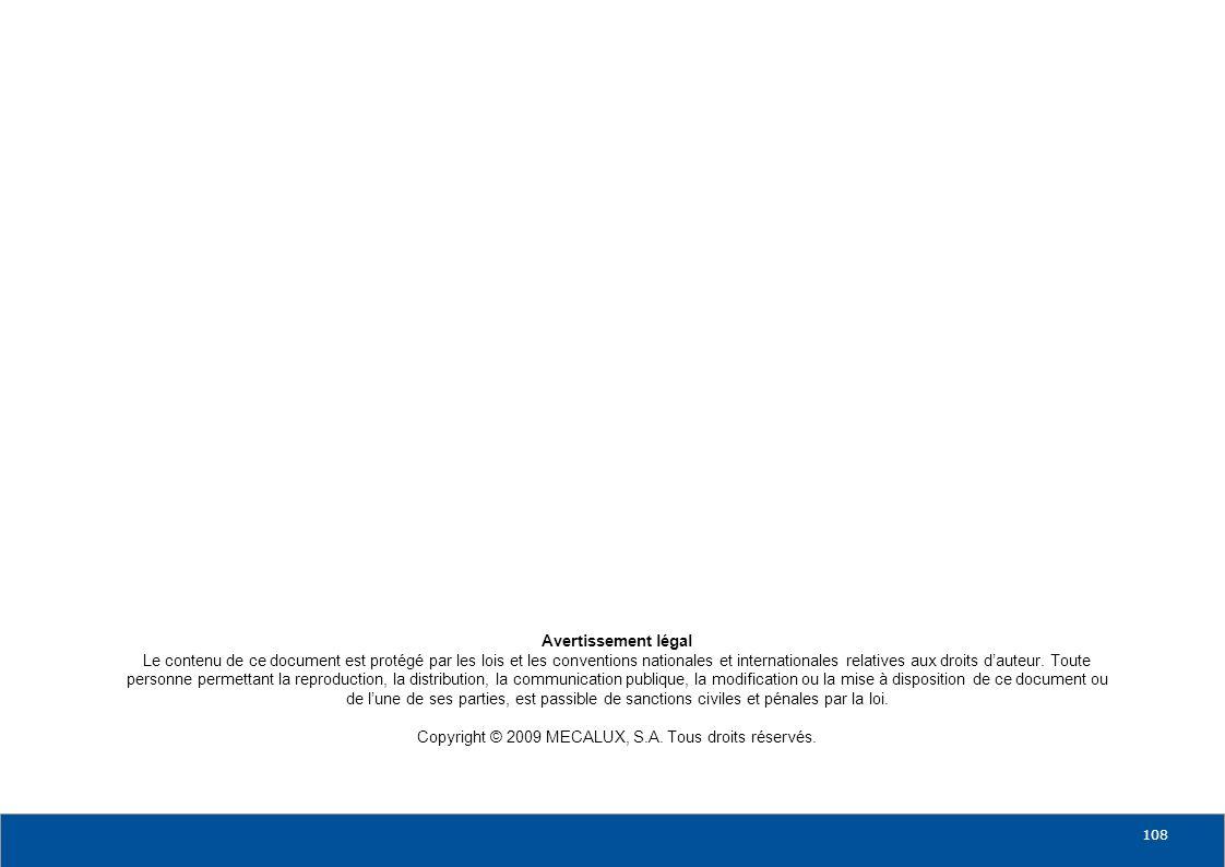 0810 18 19 20 108 Avertissement légal Le contenu de ce document est protégé par les lois et les conventions nationales et internationales relatives au