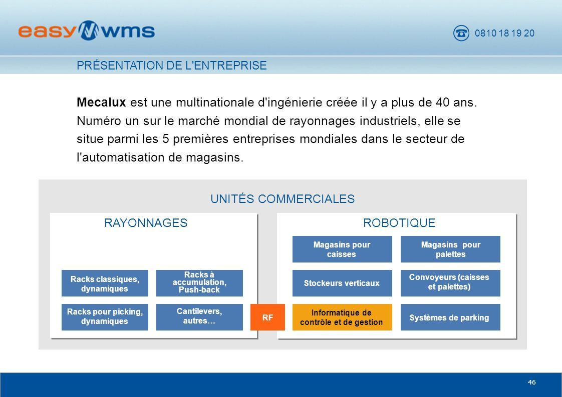 0810 18 19 20 46 UNITÉS COMMERCIALES Mecalux est une multinationale d'ingénierie créée il y a plus de 40 ans. Numéro un sur le marché mondial de rayon