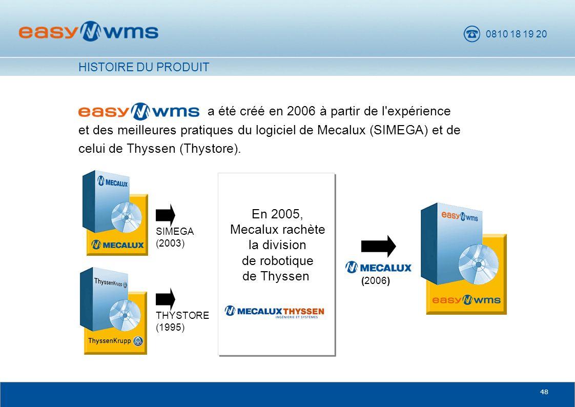 0810 18 19 20 48 a été créé en 2006 à partir de l'expérience et des meilleures pratiques du logiciel de Mecalux (SIMEGA) et de celui de Thyssen (Thyst