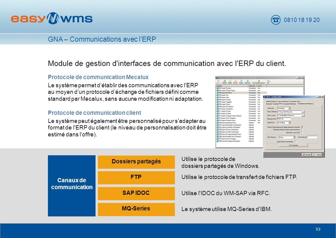 0810 18 19 20 53 Module de gestion d'interfaces de communication avec l'ERP du client. Protocole de communication Mecalux Le système permet détablir d