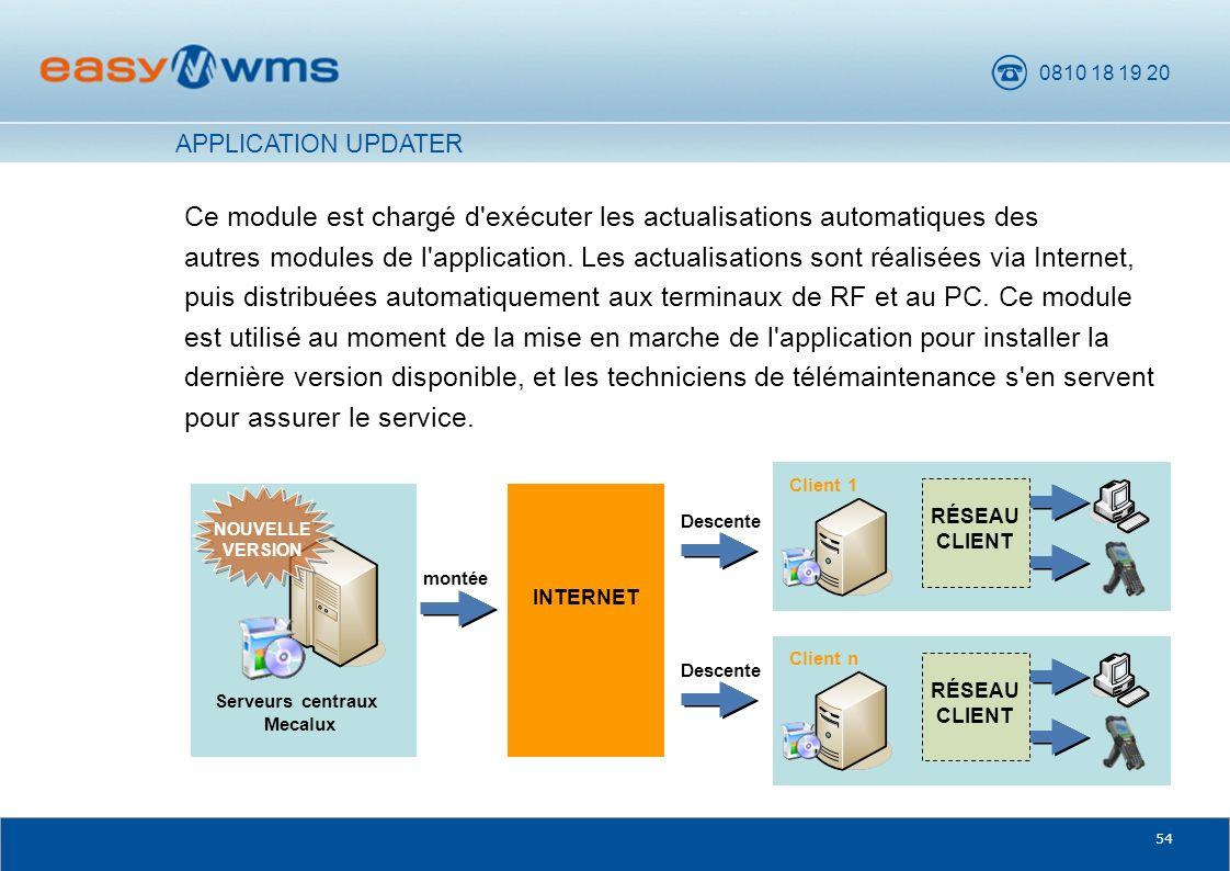 0810 18 19 20 54 Ce module est chargé d'exécuter les actualisations automatiques des autres modules de l'application. Les actualisations sont réalisée