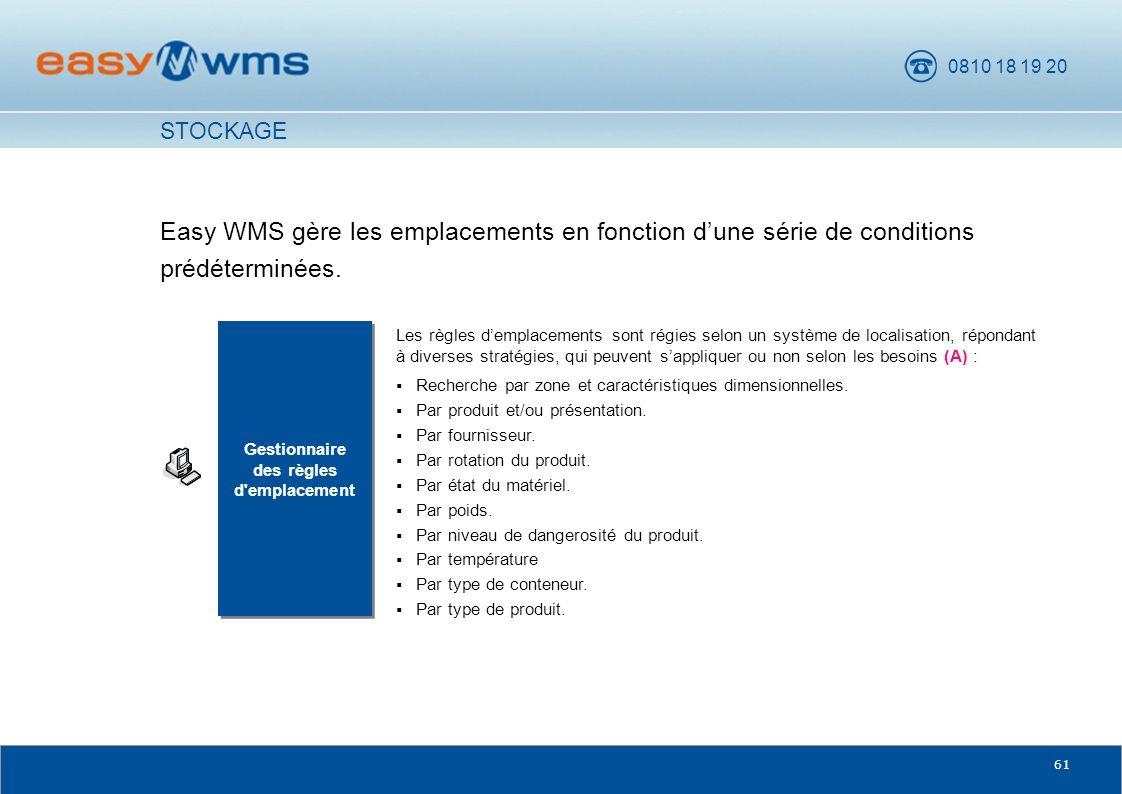 0810 18 19 20 61 Easy WMS gère les emplacements en fonction dune série de conditions prédéterminées. Gestionnaire des règles d'emplacement Gestionnair