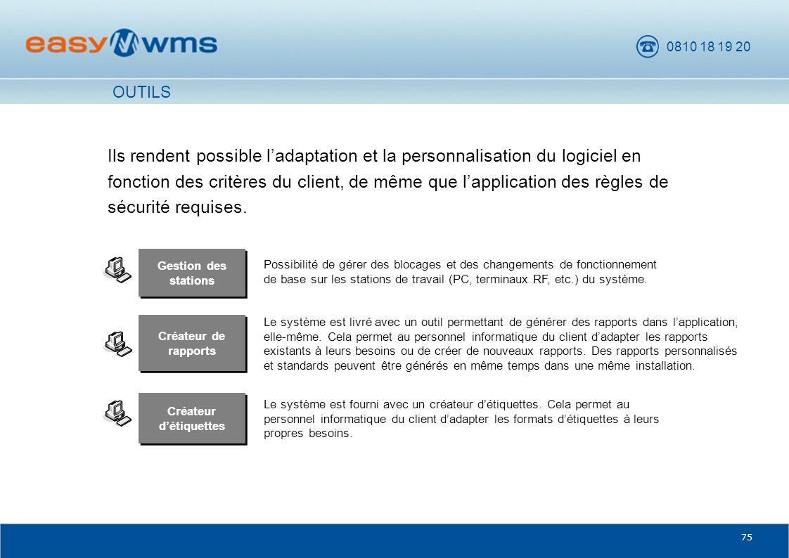0810 18 19 20 75 Gestion des stations Possibilité de gérer des blocages et des changements de fonctionnement de base sur les stations de travail (PC,