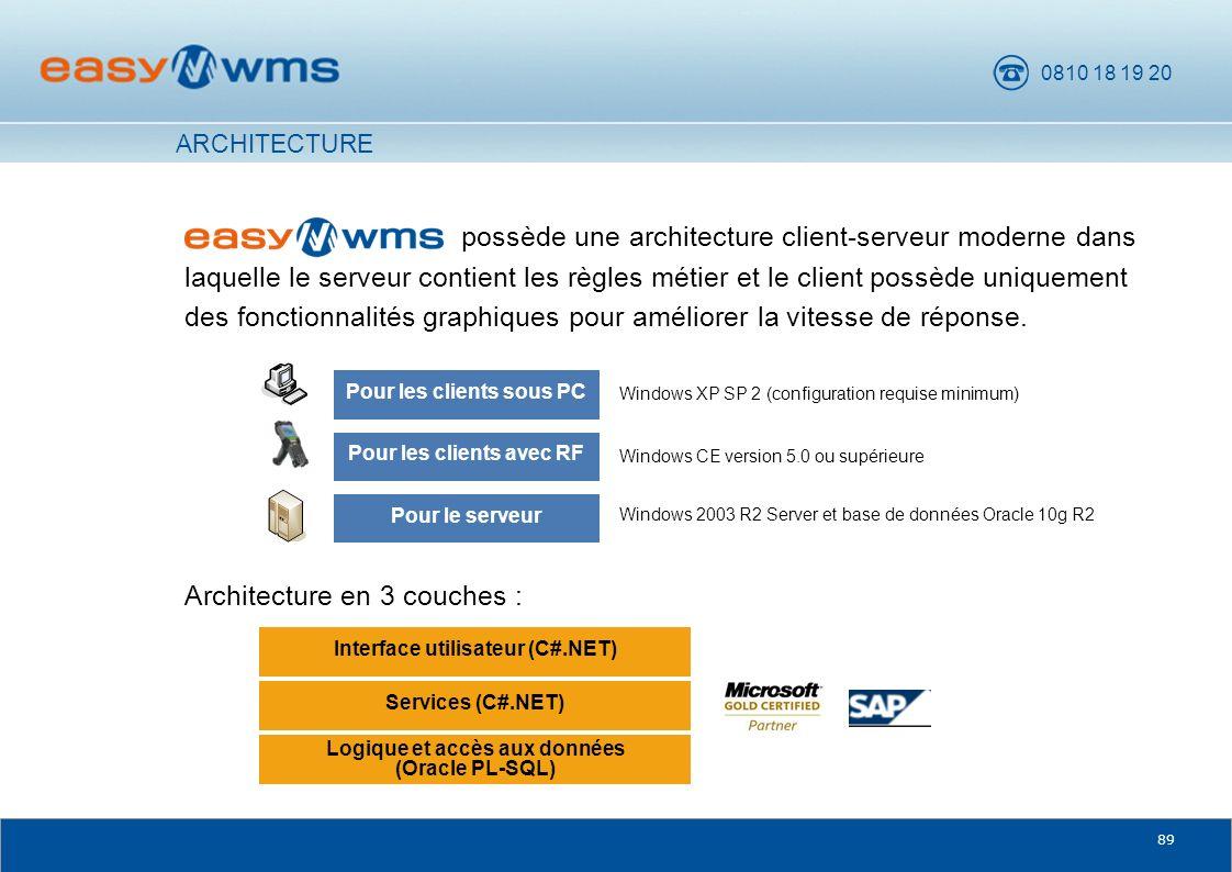 0810 18 19 20 89 possède une architecture client-serveur moderne dans laquelle le serveur contient les règles métier et le client possède uniquement d