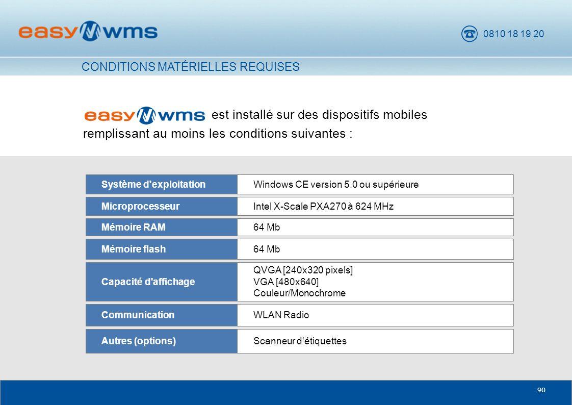 0810 18 19 20 90 est installé sur des dispositifs mobiles remplissant au moins les conditions suivantes : WLAN RadioCommunication Scanneur détiquettes