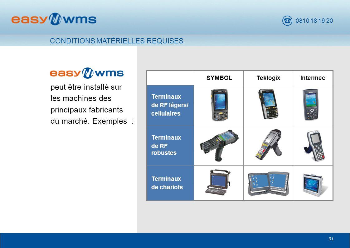 0810 18 19 20 91 Terminaux de chariots Terminaux de RF robustes peut être installé sur les machines des principaux fabricants du marché. Exemples : SY