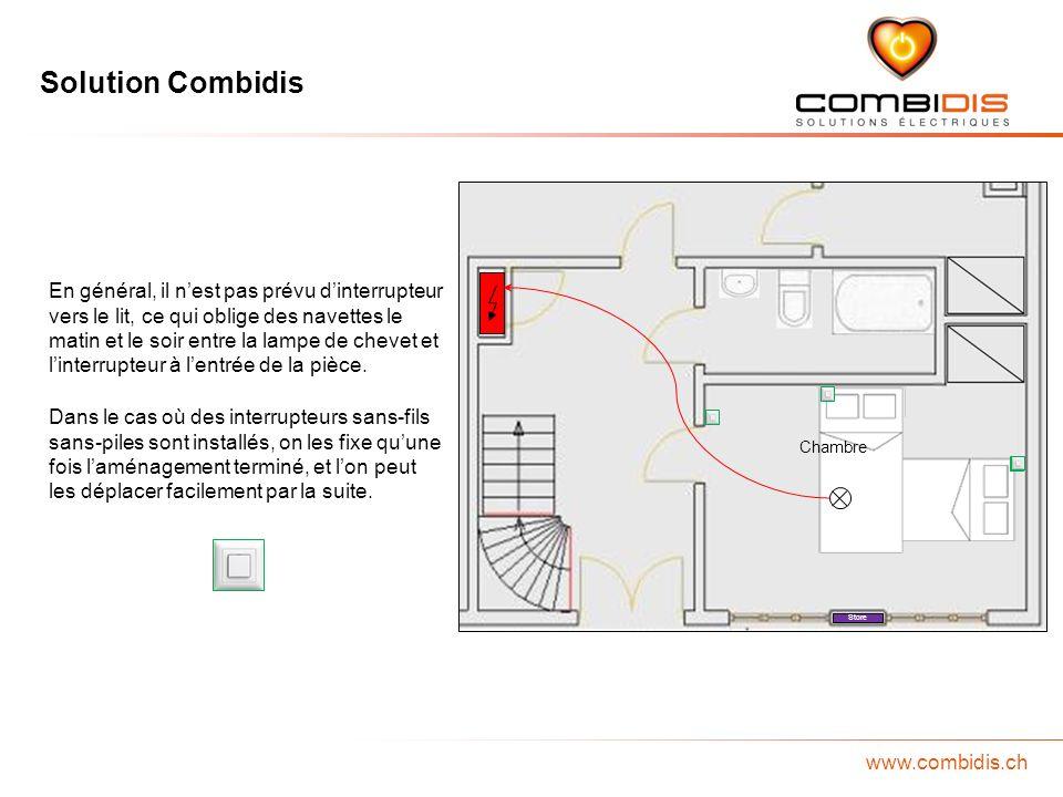Solution Combidis www.combidis.ch Chambre Store En général, il nest pas prévu dinterrupteur vers le lit, ce qui oblige des navettes le matin et le soi