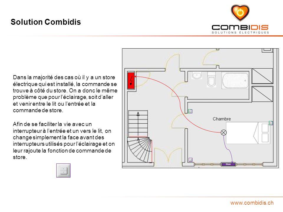 Solution Combidis www.combidis.ch Chambre Store Laffectation de la pièce ou les besoins en prises peuvent varier dans le temps, cest pourquoi on devrait définir clairement tous les besoins à long terme.