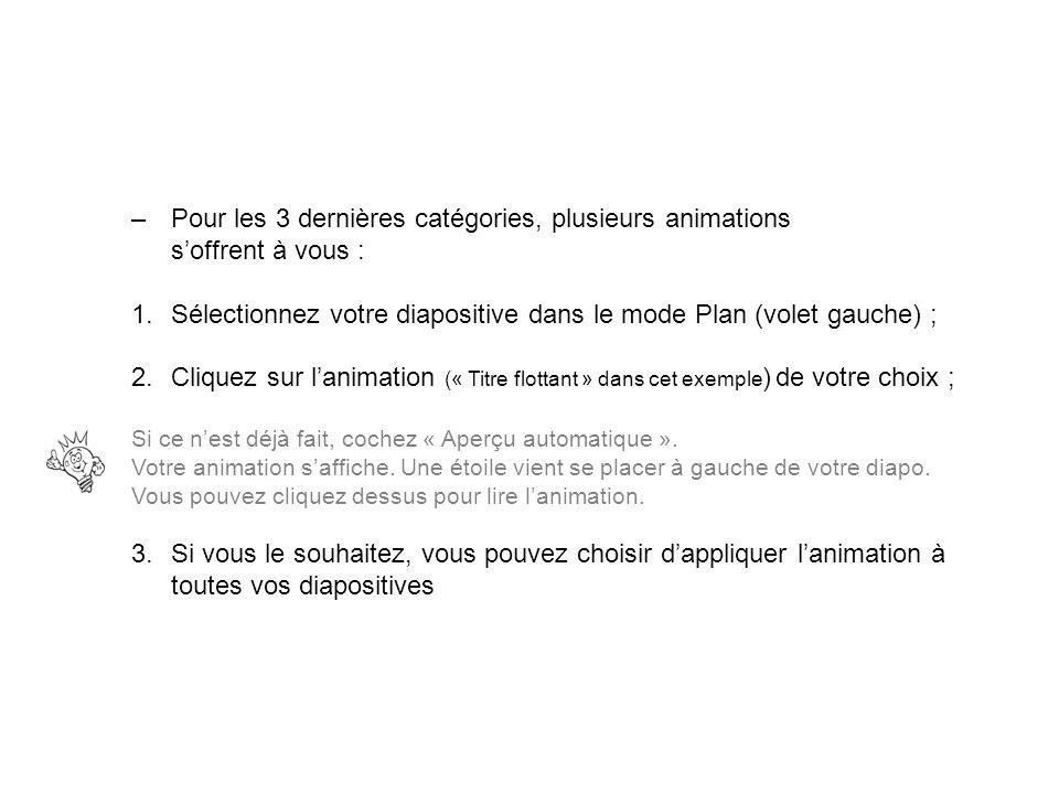 –Pour les 3 dernières catégories, plusieurs animations soffrent à vous : 1.Sélectionnez votre diapositive dans le mode Plan (volet gauche) ; 2.Cliquez
