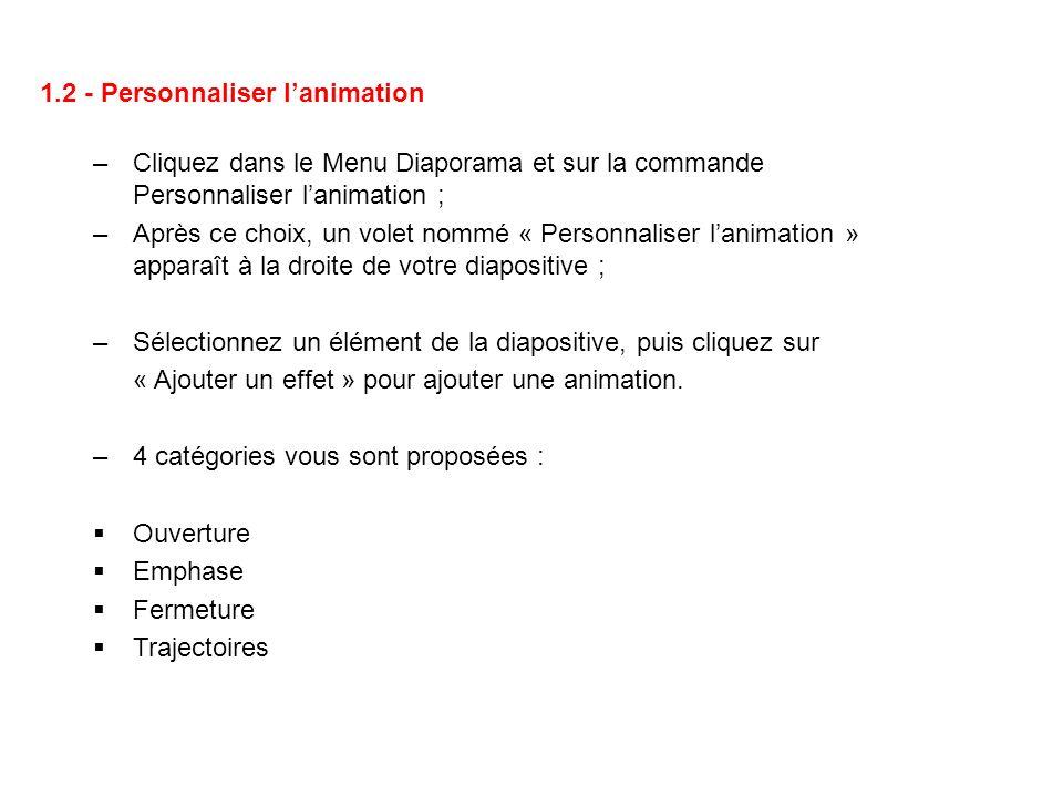 1.2 - Personnaliser lanimation –Cliquez dans le Menu Diaporama et sur la commande Personnaliser lanimation ; –Après ce choix, un volet nommé « Personn
