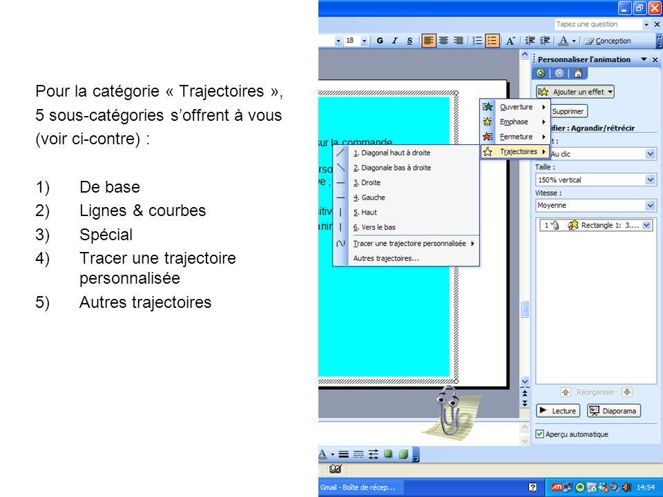 Pour la catégorie « Trajectoires », 5 sous-catégories soffrent à vous (voir ci-contre) : 1)De base 2)Lignes & courbes 3)Spécial 4)Tracer une trajectoi