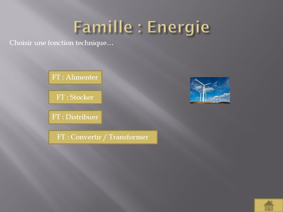 Choisir une fonction technique… FT : Alimenter FT : Stocker FT : Distribuer FT : Convertir / Transformer