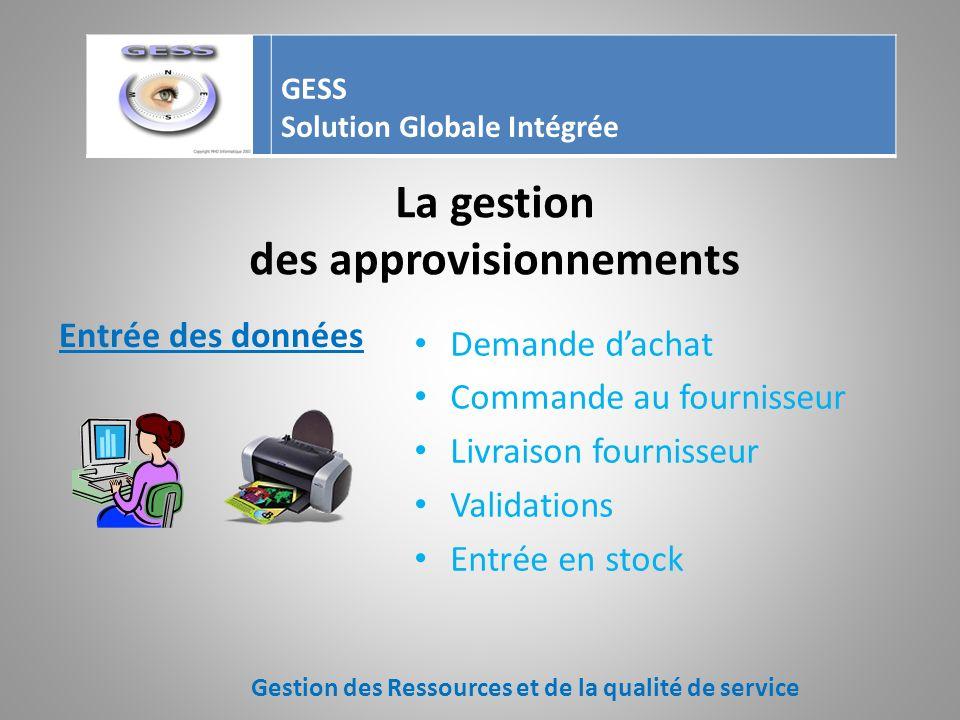 La gestion des approvisionnements Gestion des Ressources et de la qualité de service GESS Solution Globale Intégrée