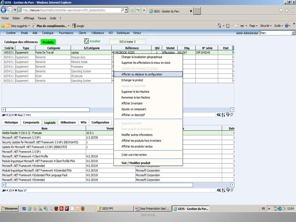 Les mouvements des ressources Affecter (service, utilisateur) Restituer Visualiser Réparer Sortir de linventaire Gestion des Ressources et de la quali