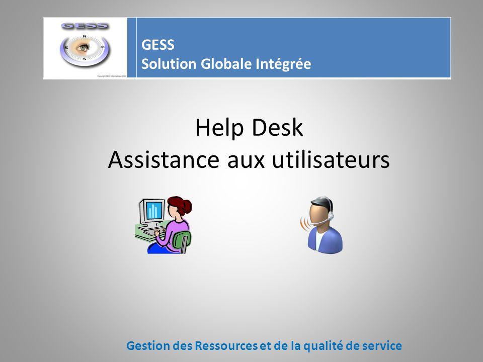 Help Desk Lutilisateur fait sa demande par Téléphone E-mail Self Service Gestion des Ressources et de la qualité de service GESS Solution Globale Inté