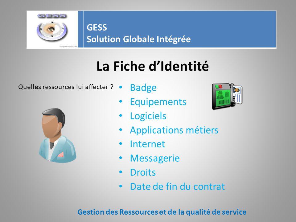 Les mouvements des ressources Affecter (service, utilisateur) Restituer Visualiser Réparer Sortir de linventaire Gestion des Ressources et de la qualité de service GESS Solution Globale Intégrée