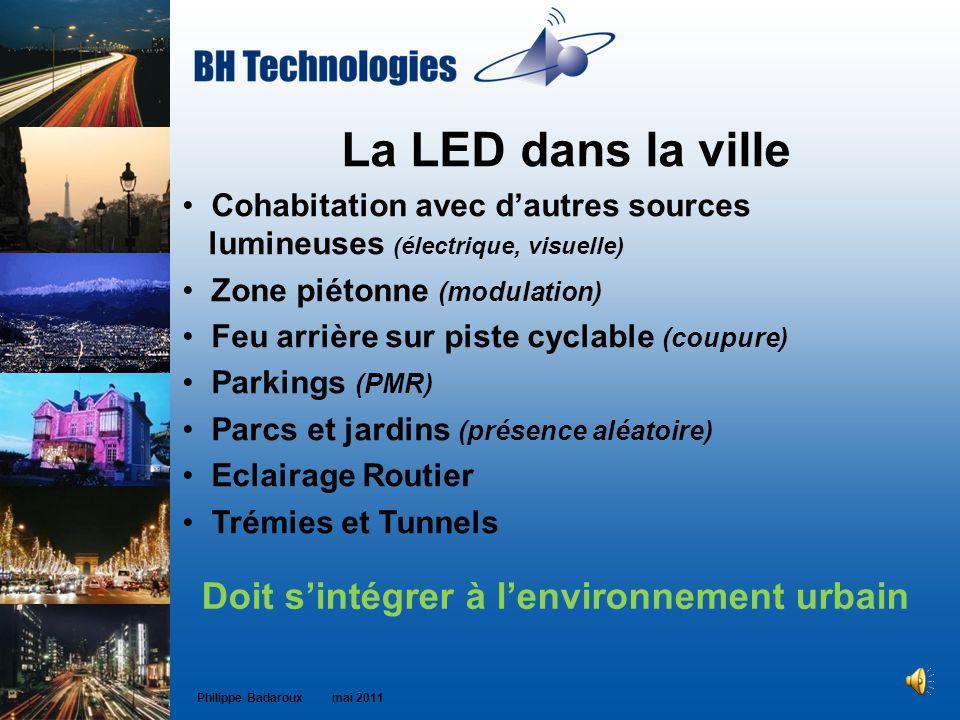 La LED dans la ville Cohabitation avec dautres sources lumineuses (électrique, visuelle) Zone piétonne (modulation) Feu arrière sur piste cyclable (co