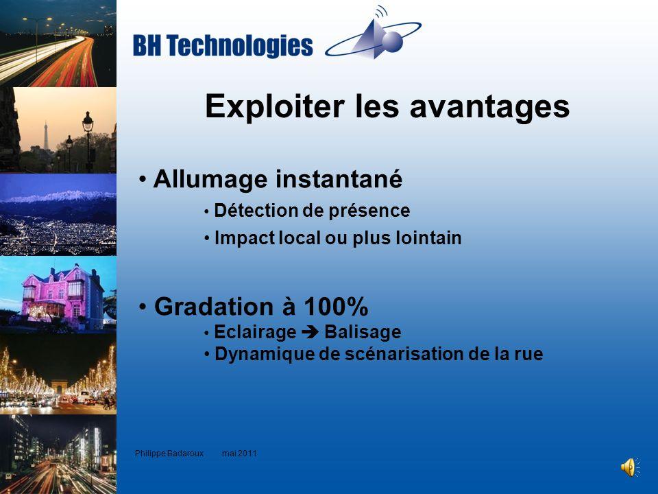 Exploiter les avantages Philippe Badaroux mai 2011 Allumage instantané Détection de présence Impact local ou plus lointain Gradation à 100% Eclairage
