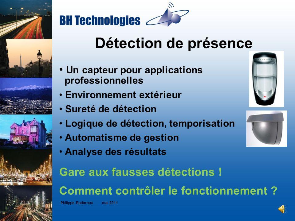 Détection de présence Philippe Badaroux mai 2011 Un capteur pour applications professionnelles Environnement extérieur Sureté de détection Logique de
