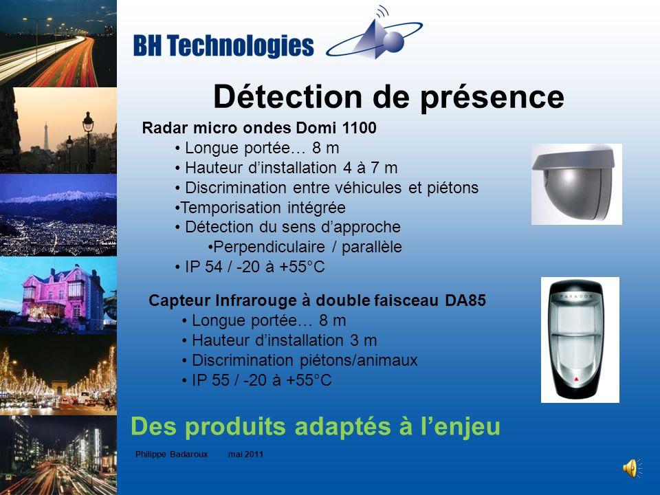 Détection de présence Philippe Badaroux mai 2011 Des produits adaptés à lenjeu Radar micro ondes Domi 1100 Longue portée… 8 m Hauteur dinstallation 4