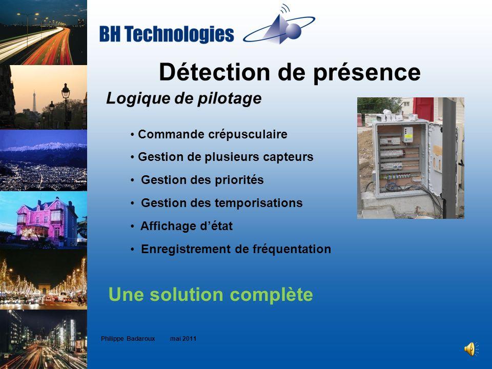 Détection de présence Philippe Badaroux mai 2011 Une solution complète Logique de pilotage Commande crépusculaire Gestion de plusieurs capteurs Gestio